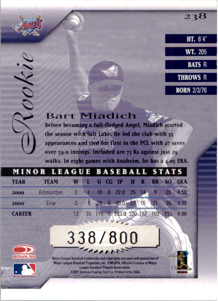 2001 Donruss Signature #238 Bart Miadich RC back image