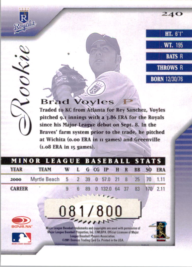 2001 Donruss Signature #240 Brad Voyles RC back image