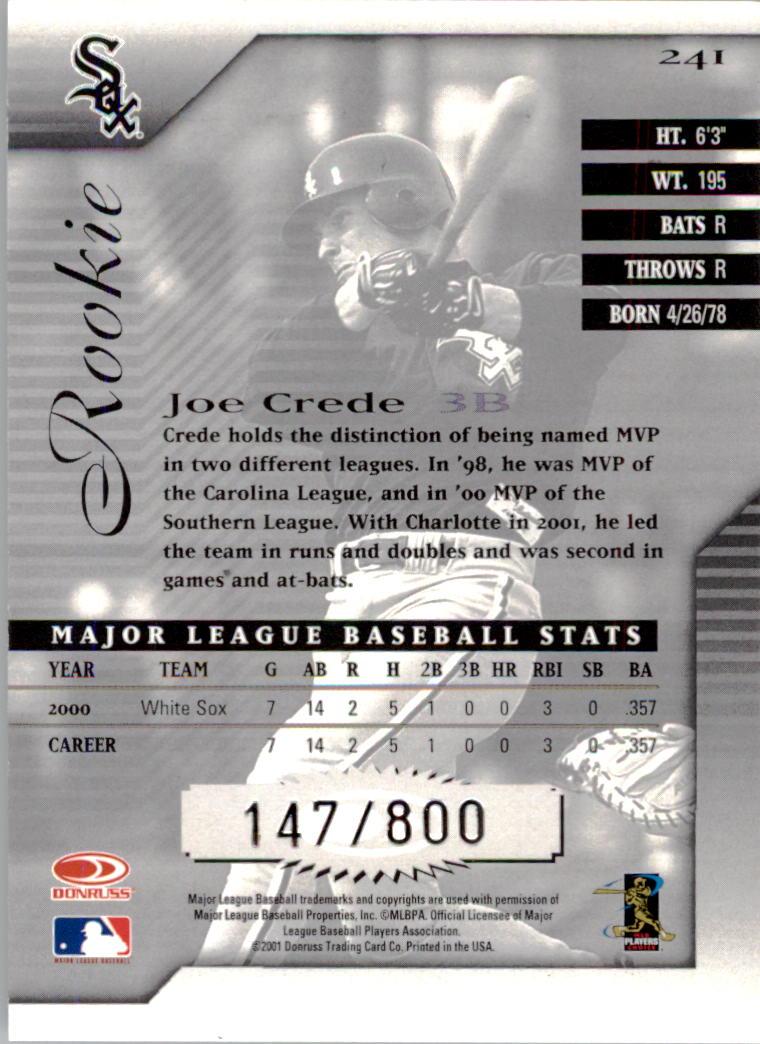 2001 Donruss Signature #241 Joe Crede back image