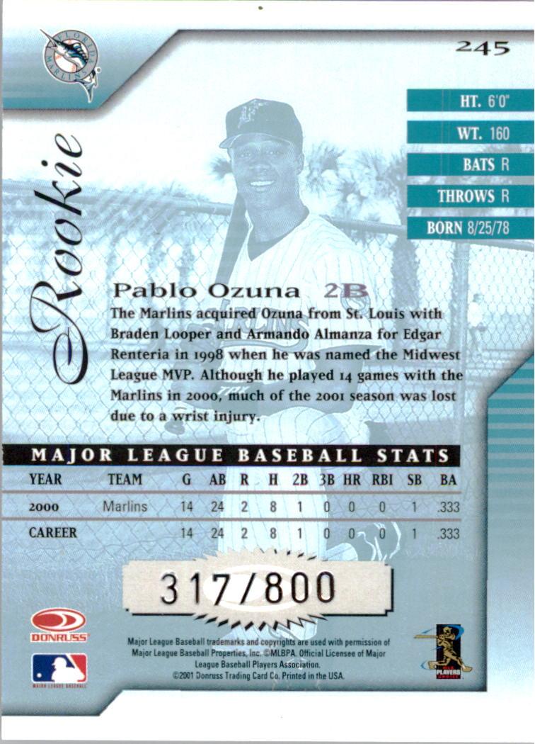 2001 Donruss Signature #245 Pablo Ozuna back image
