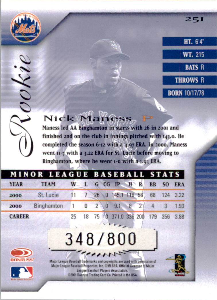 2001 Donruss Signature #251 Nick Maness RC back image