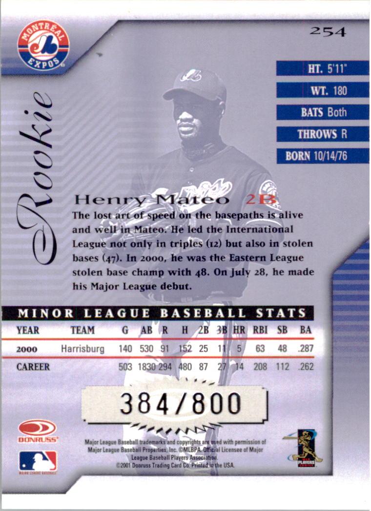 2001 Donruss Signature #254 Henry Mateo RC back image