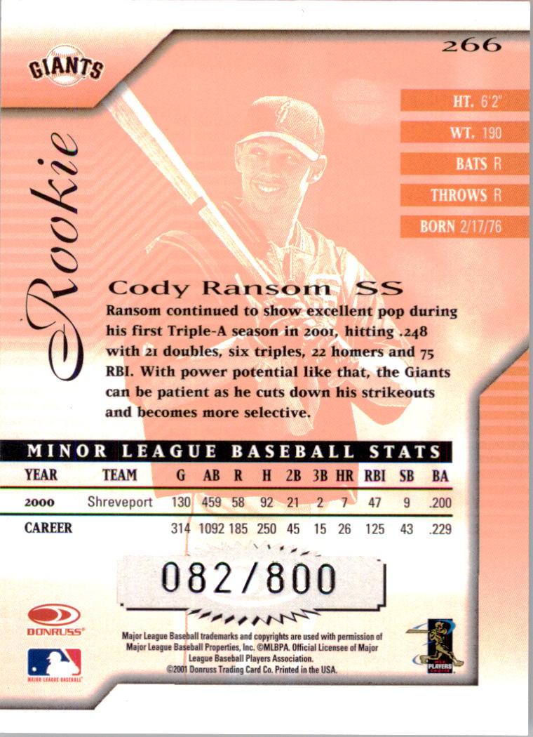 2001 Donruss Signature #266 Cody Ransom RC back image