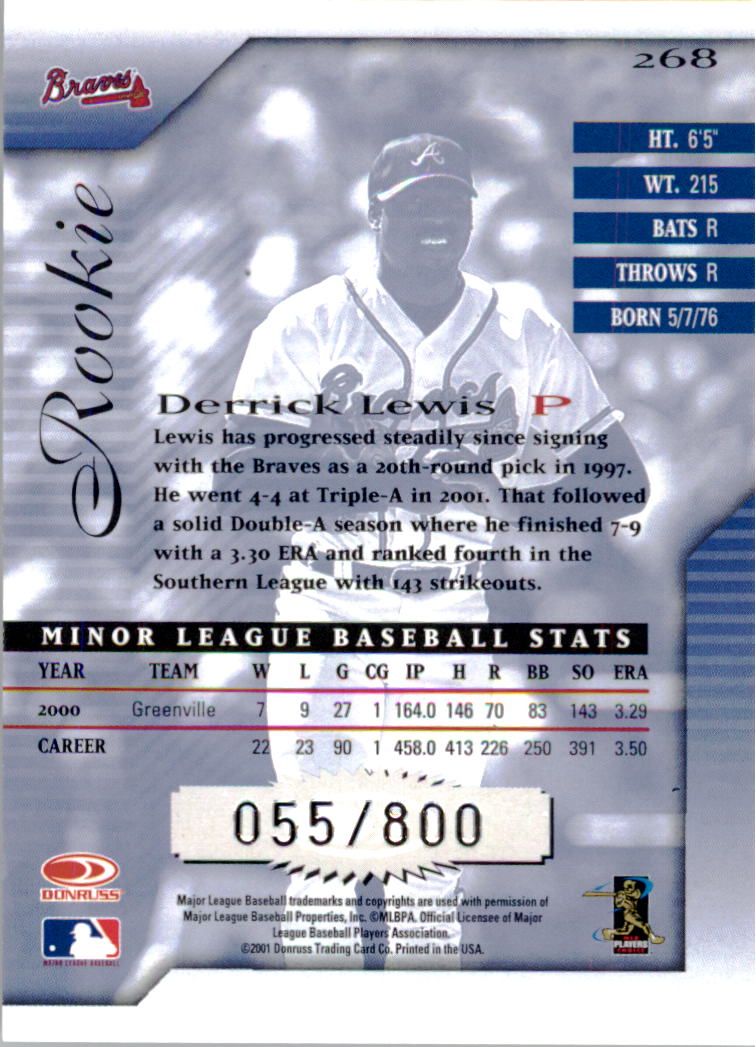 2001 Donruss Signature #268 Derrick Lewis RC back image