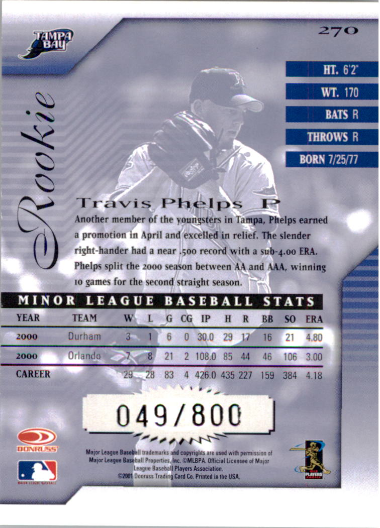 2001 Donruss Signature #270 Travis Phelps RC back image