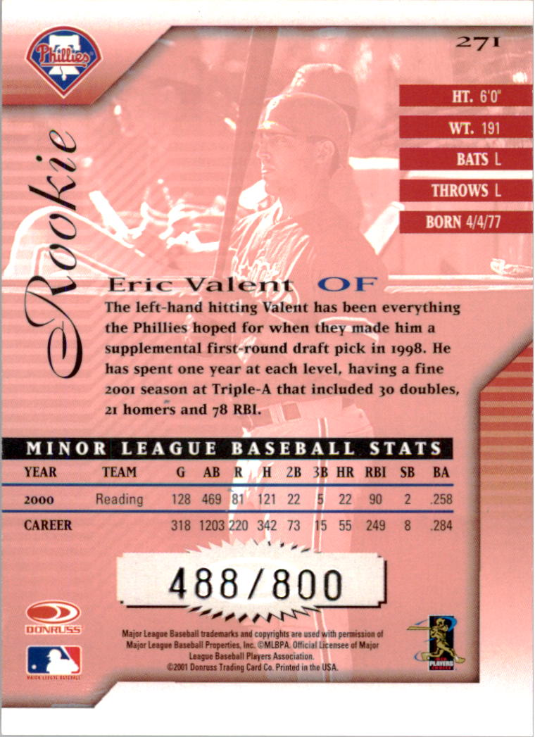 2001 Donruss Signature #271 Eric Valent back image
