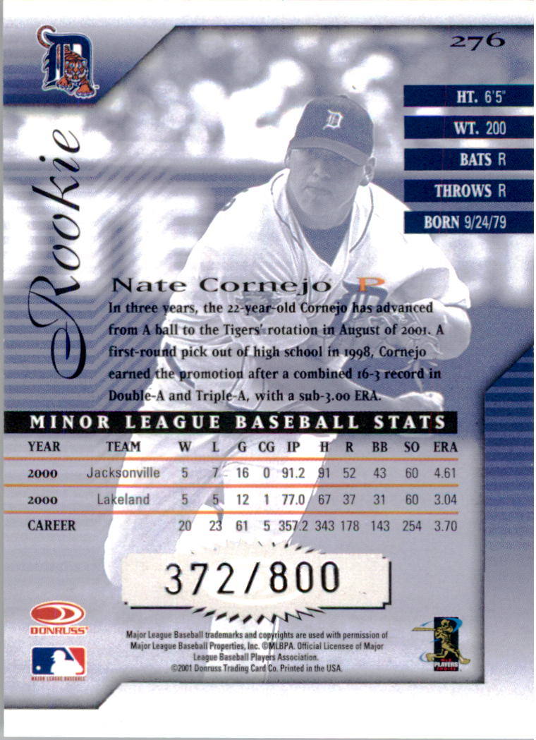 2001 Donruss Signature #276 Nate Cornejo back image