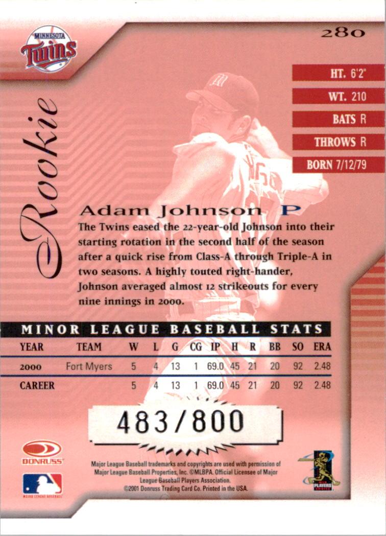 2001 Donruss Signature #280 Adam Johnson back image
