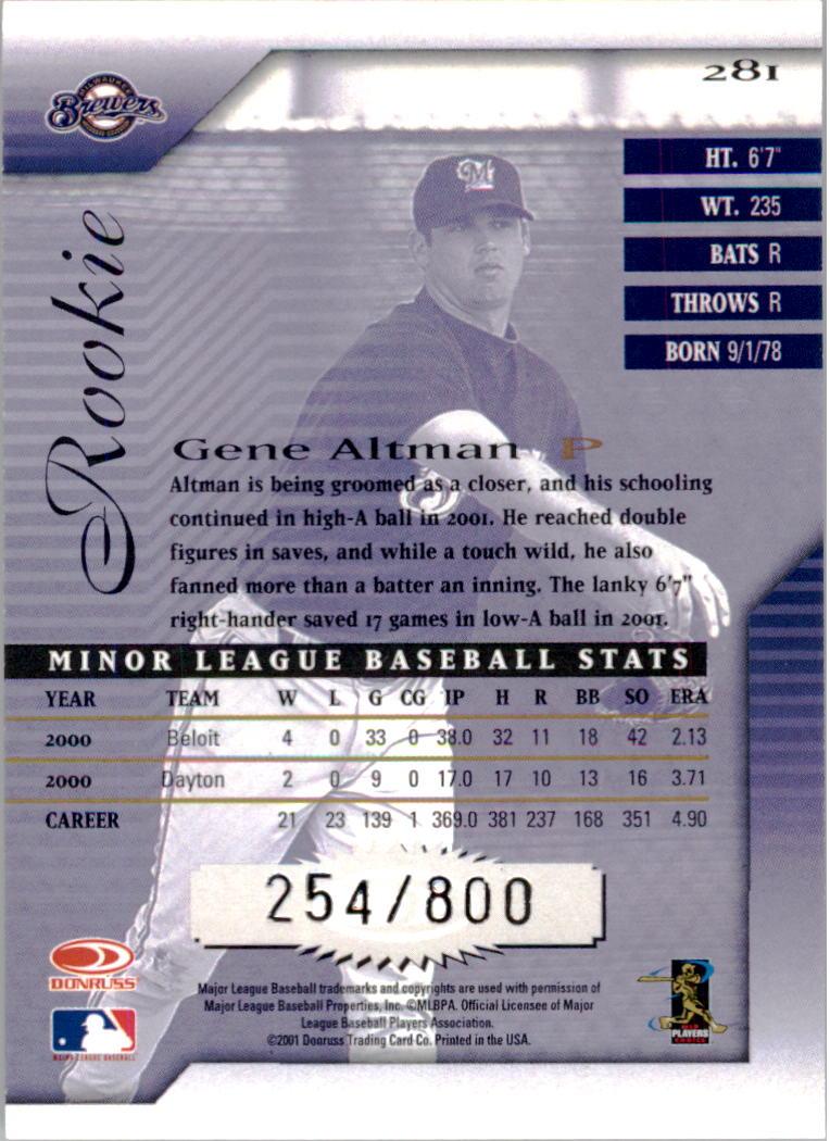 2001 Donruss Signature #281 Gene Altman RC back image
