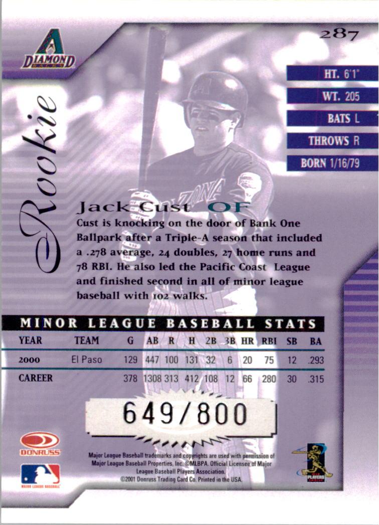 2001 Donruss Signature #287 Jack Cust back image