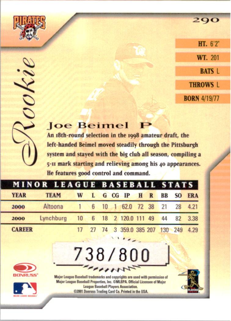 2001 Donruss Signature #290 Joe Beimel RC back image