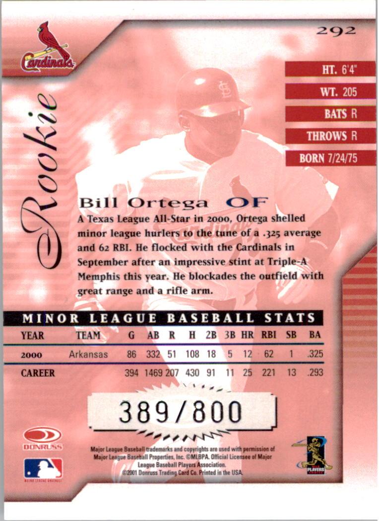 2001 Donruss Signature #292 Bill Ortega RC back image