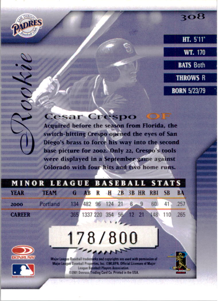 2001 Donruss Signature #308 Cesar Crespo RC back image