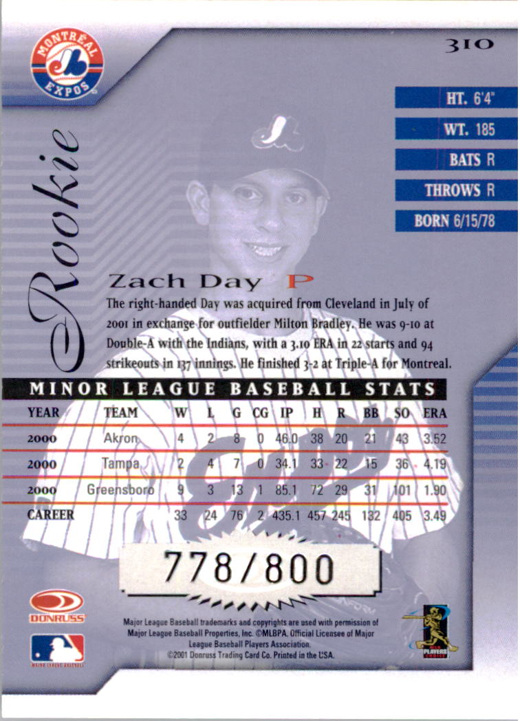 2001 Donruss Signature #310 Zach Day RC back image