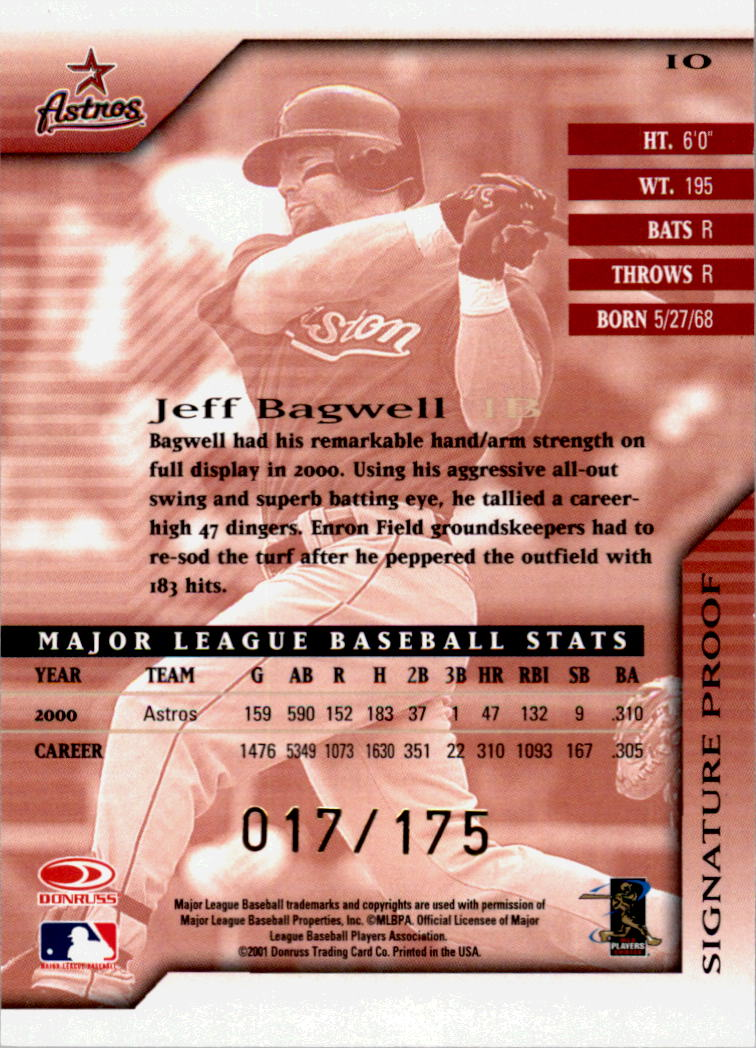 2001 Donruss Signature Proofs #10 Jeff Bagwell back image
