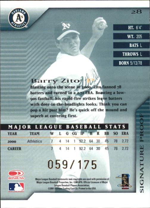 2001 Donruss Signature Proofs #28 Barry Zito back image