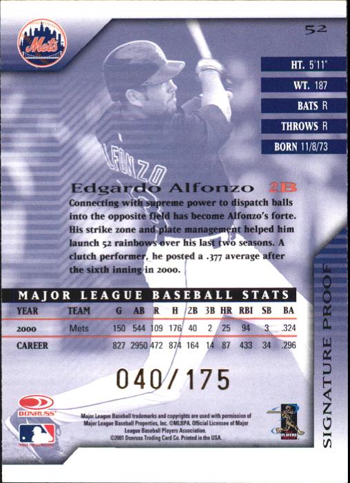 2001 Donruss Signature Proofs #52 Edgardo Alfonzo back image