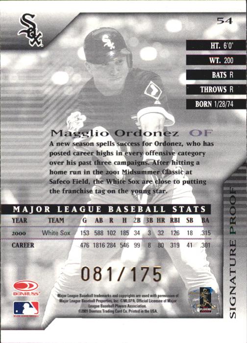 2001 Donruss Signature Proofs #54 Magglio Ordonez back image