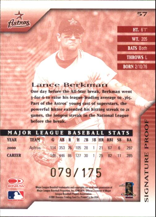 2001 Donruss Signature Proofs #57 Lance Berkman back image