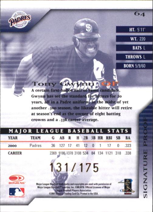 2001 Donruss Signature Proofs #64 Tony Gwynn back image