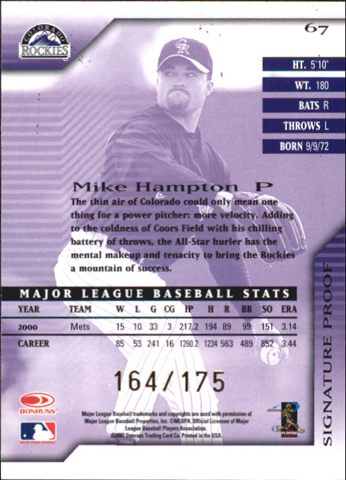 2001 Donruss Signature Proofs #67 Mike Hampton back image
