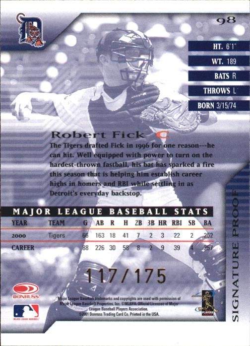 2001 Donruss Signature Proofs #98 Robert Fick back image