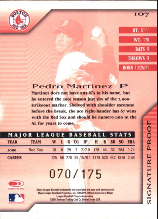 2001 Donruss Signature Proofs #107 Pedro Martinez back image