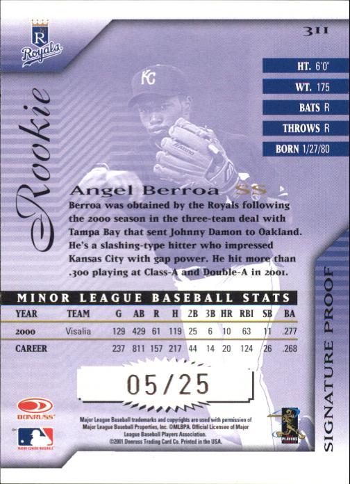 2001 Donruss Signature Proofs #311 Angel Berroa AU back image