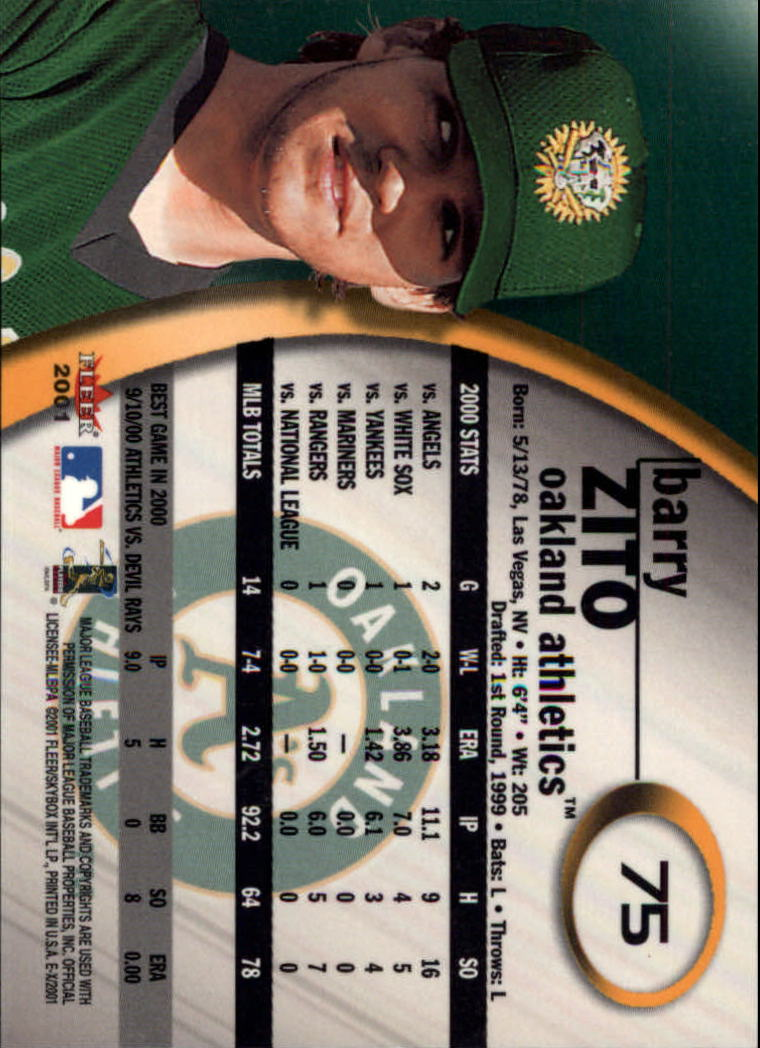 2001 E-X #75 Barry Zito back image