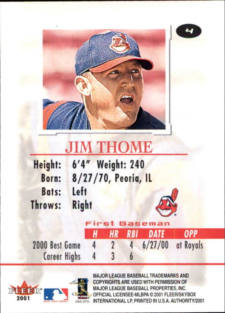 2001 Fleer Authority #4 Jim Thome back image