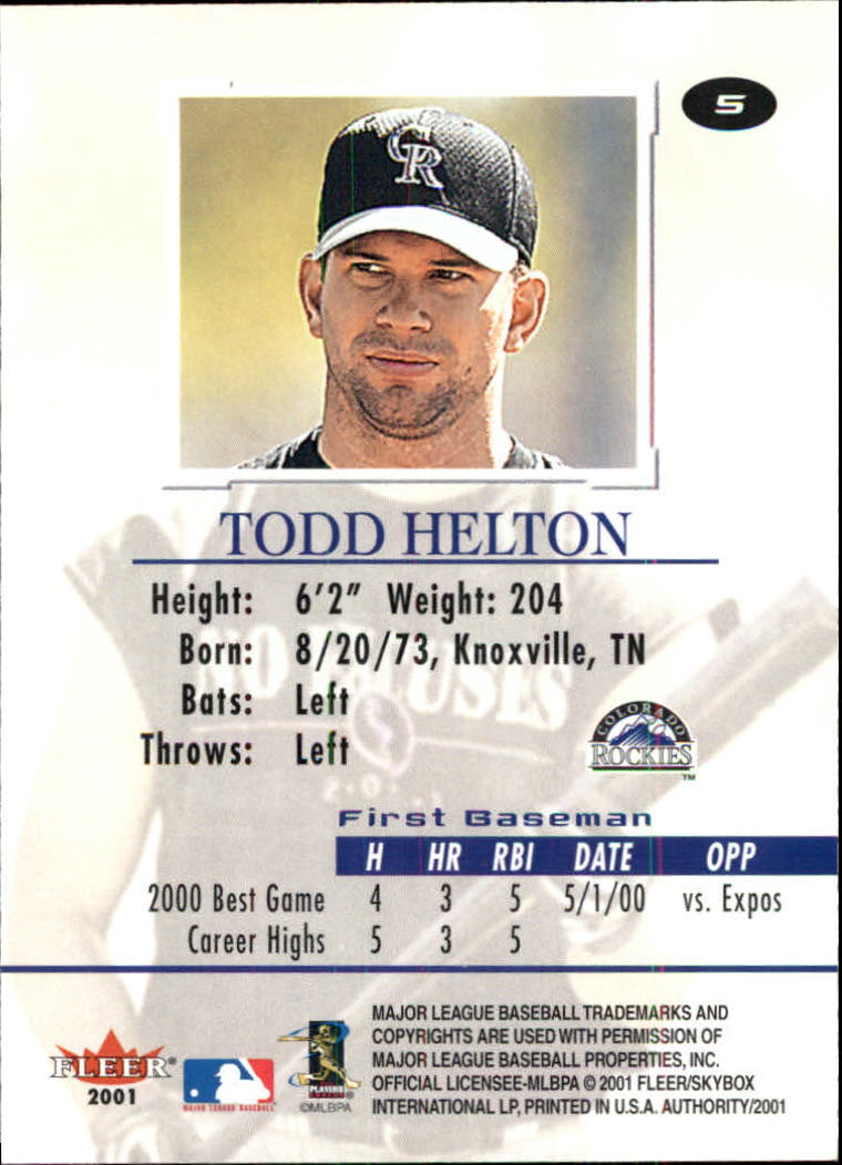2001 Fleer Authority #5 Todd Helton back image