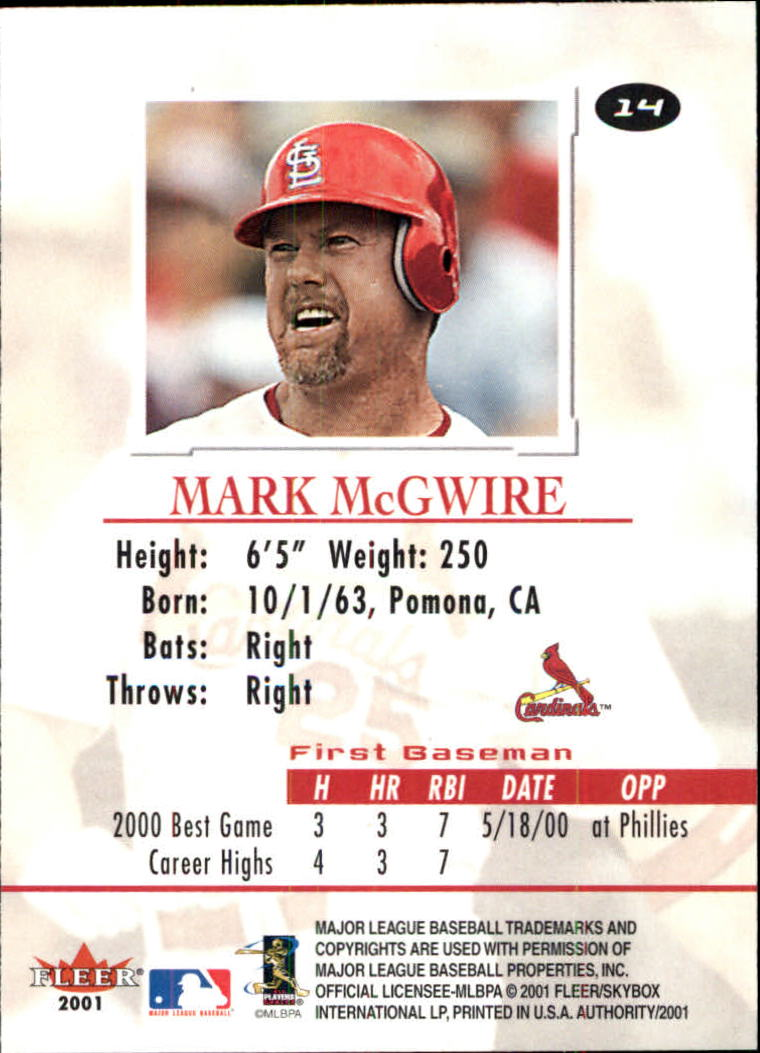 2001 Fleer Authority #14 Mark McGwire back image