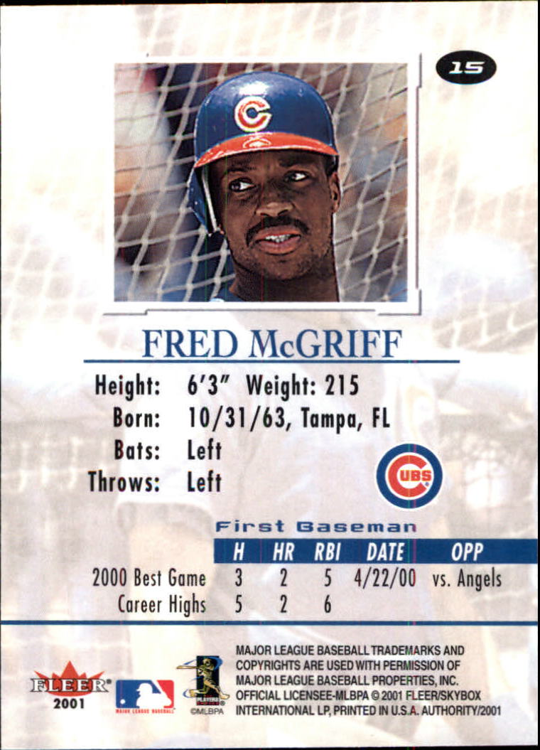 2001 Fleer Authority #15 Fred McGriff back image