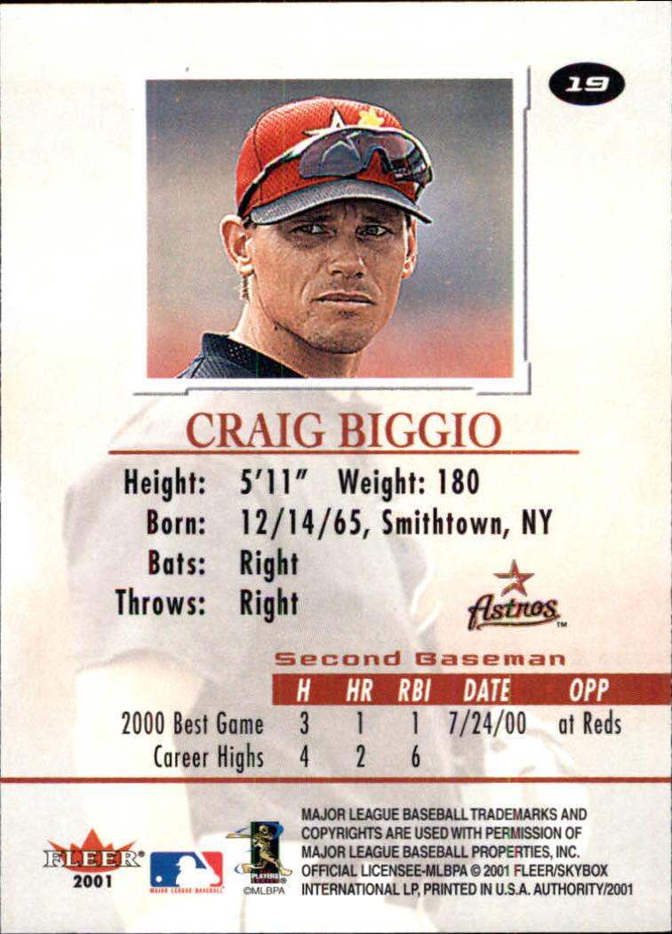 2001 Fleer Authority #19 Craig Biggio back image