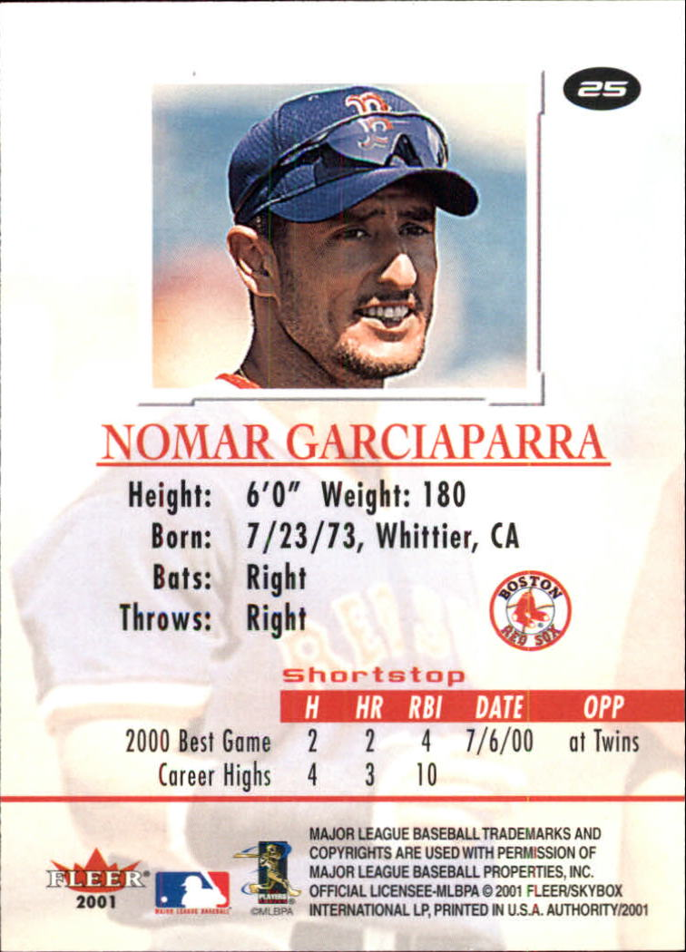 2001 Fleer Authority #25 Nomar Garciaparra back image