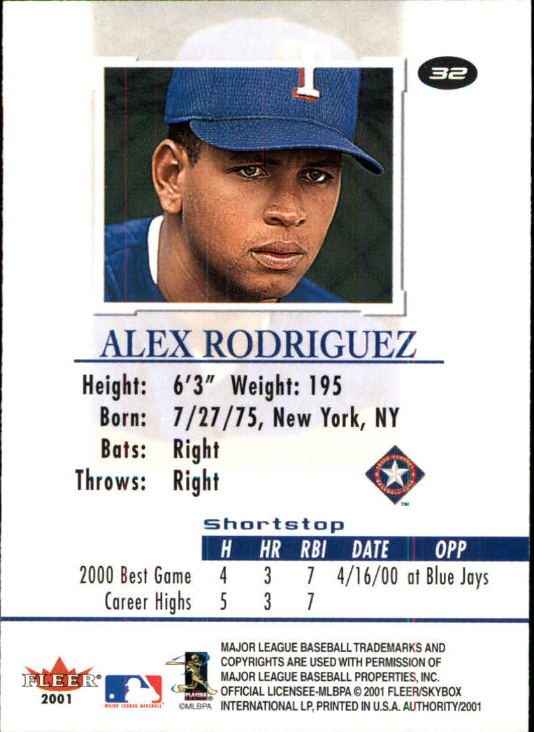 2001 Fleer Authority #32 Alex Rodriguez back image
