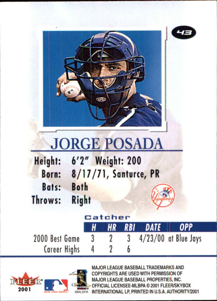 2001 Fleer Authority #43 Jorge Posada back image