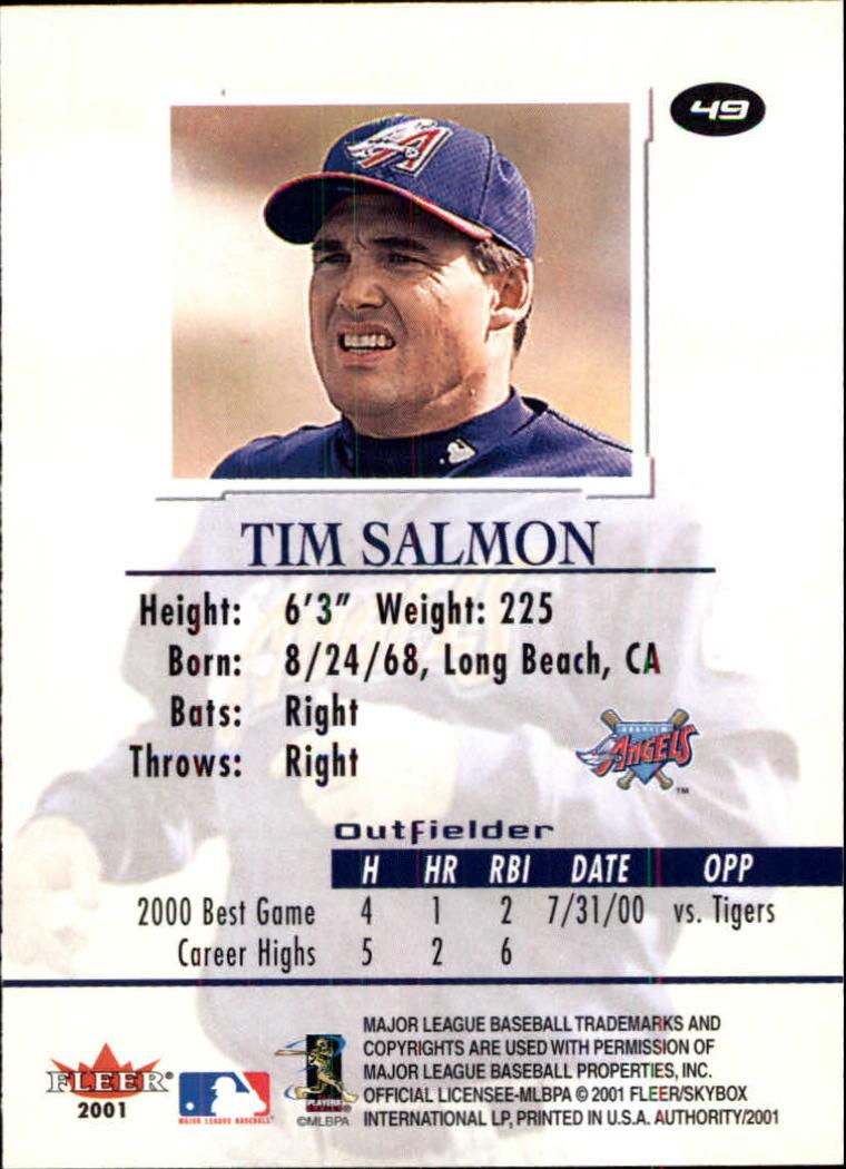 2001 Fleer Authority #49 Tim Salmon back image