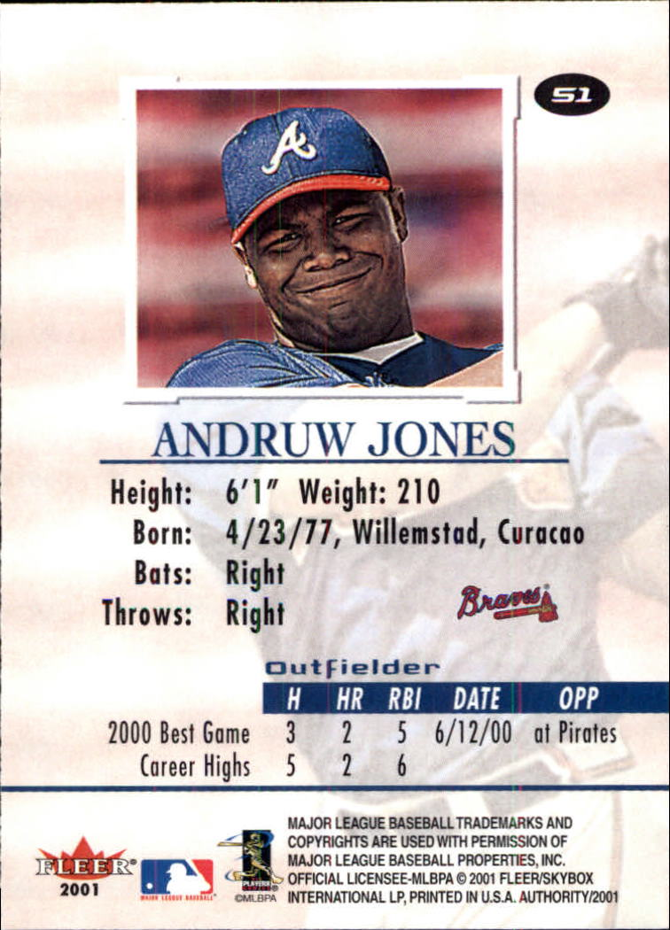 2001 Fleer Authority #51 Andruw Jones back image