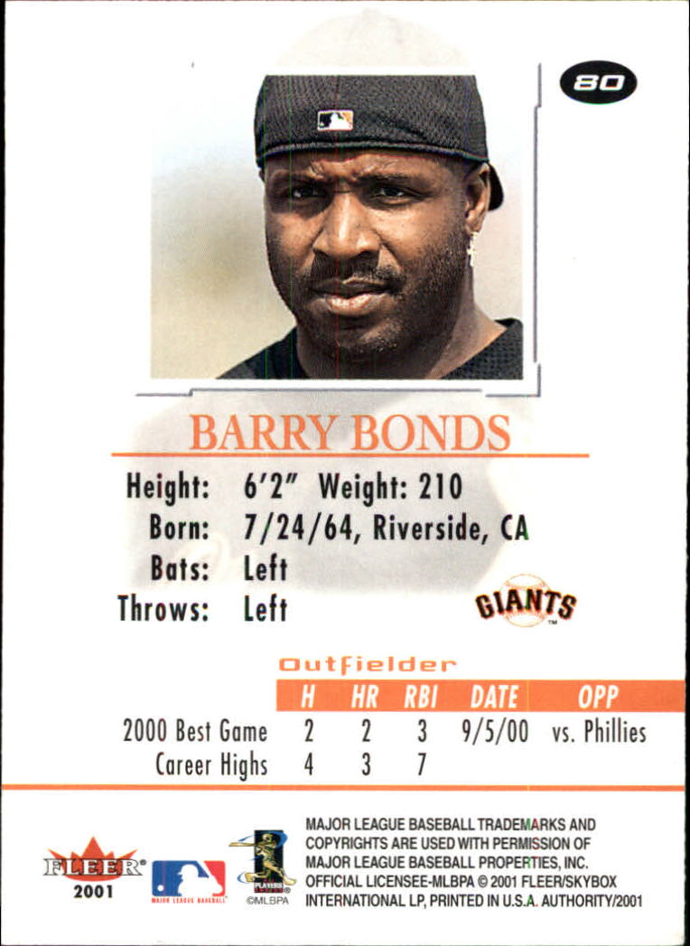 2001 Fleer Authority #80 Barry Bonds back image