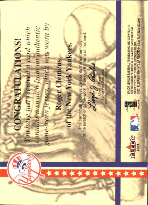 2001 Fleer Platinum National Patch Time #10 Roger Clemens Gray S1 back image