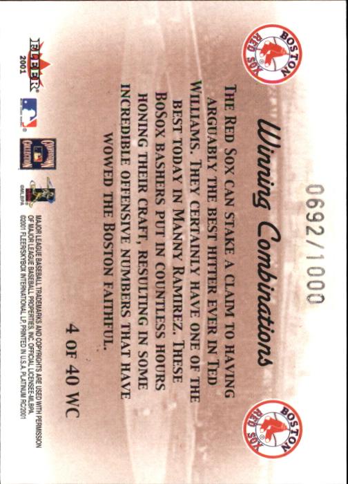 2001 Fleer Platinum Winning Combinations #4 T.Williams/M.Ramirez Sox/1000 back image