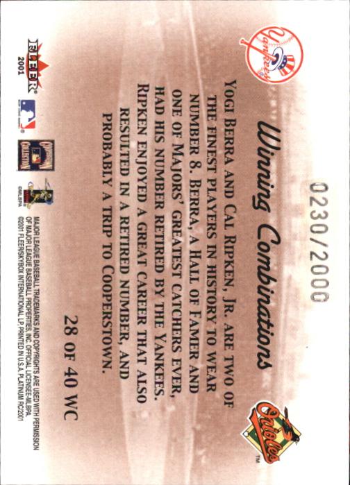 2001 Fleer Platinum Winning Combinations #28 Y.Berra/C.Ripken/2000 back image