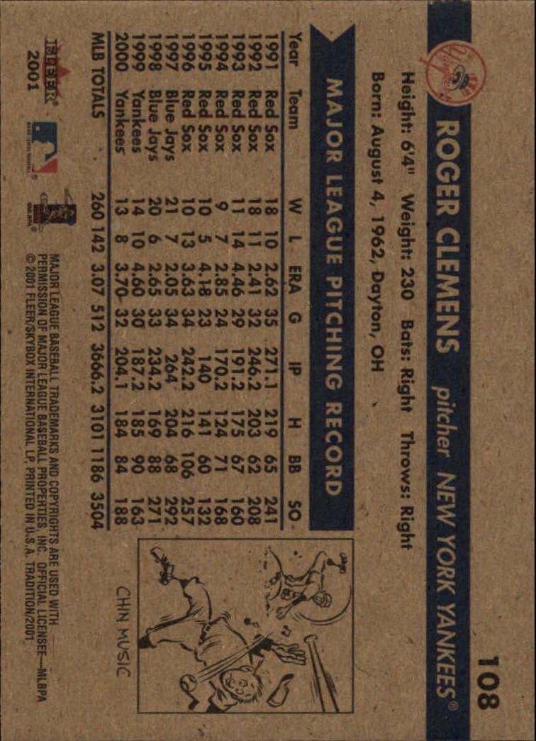 2001 Fleer Tradition #108 Roger Clemens back image