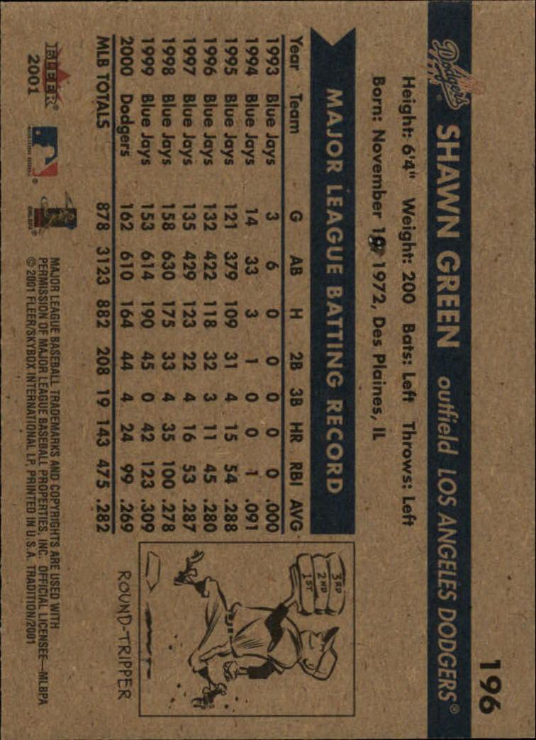 2001 Fleer Tradition #196 Shawn Green back image