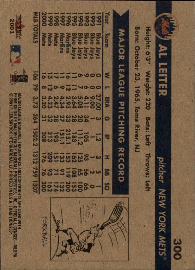 2001 Fleer Tradition #300 Al Leiter back image