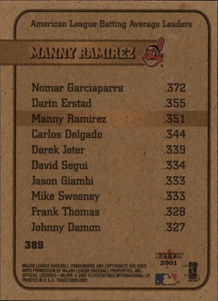 2001 Fleer Tradition #389 Manny Ramirez LL back image