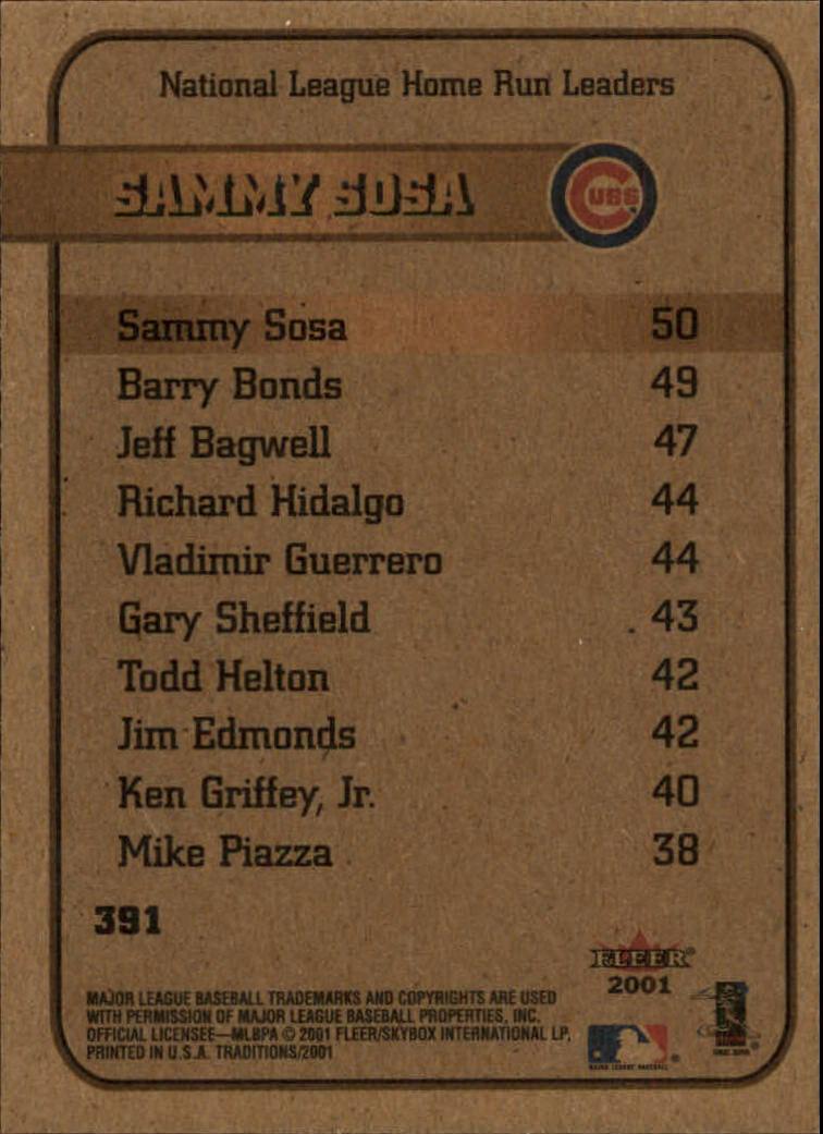 2001 Fleer Tradition #391 Sammy Sosa LL back image