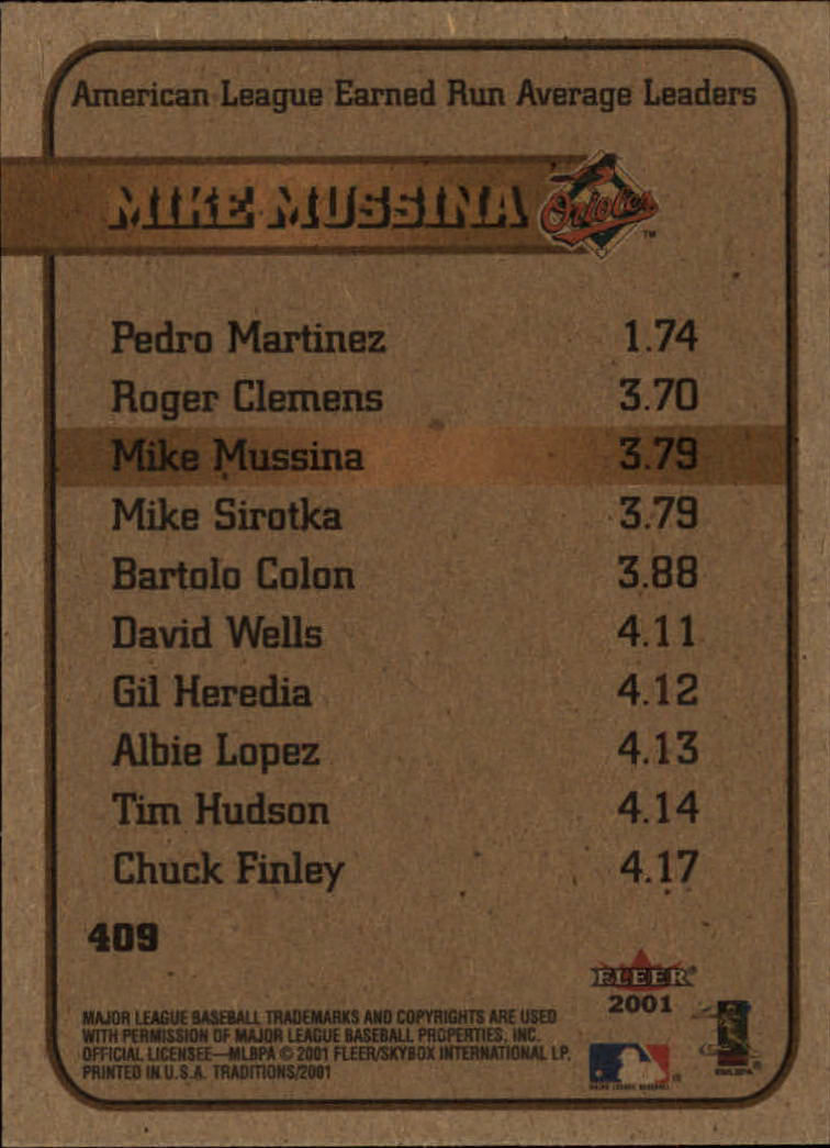 2001 Fleer Tradition #409 Mike Mussina LL back image