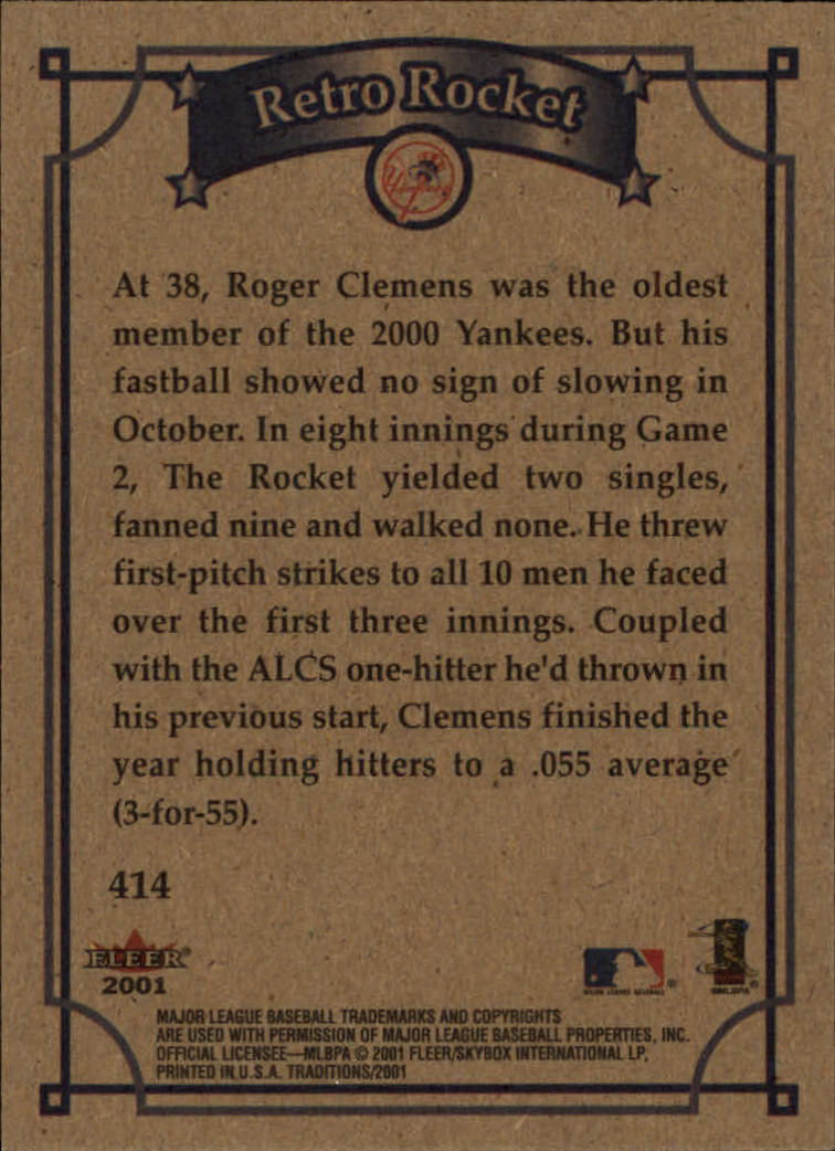 2001 Fleer Tradition #414 Roger Clemens WS back image